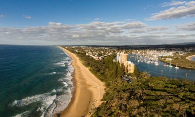 Aerial view from Point Cartwright on the Sunshine Coast