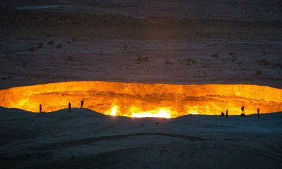 The Darvaza gas crater in Turkmenistan's Karakum Desert